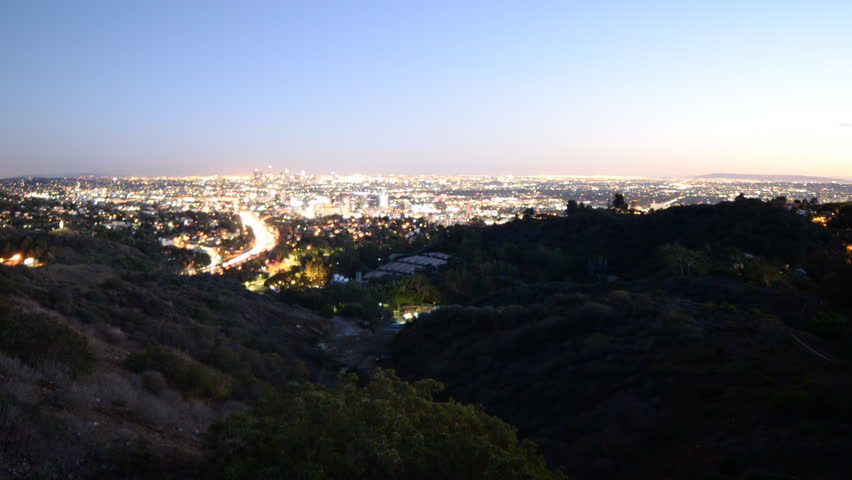 4K Time lapse footage with zoom out motion of Los Angeles cityscape at twilight wide shot in Los Angeles, California