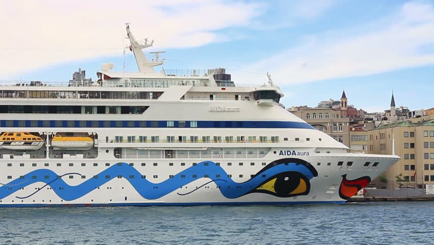 ISTANBUL - JUN 7, 2012: Cruise ship AURA (Flag: Italy) docked in Port. Karakoy is one of Turkey's most important cruise ports, visited by famous cruise liners. Aura has a capacity of 1,300 passengers