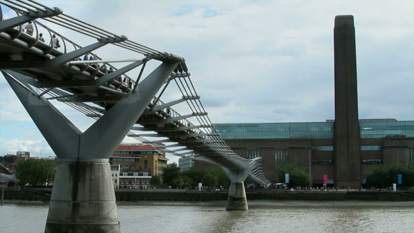 Wide Low Angle Shot Of River Thames, Millennium Bridge,and