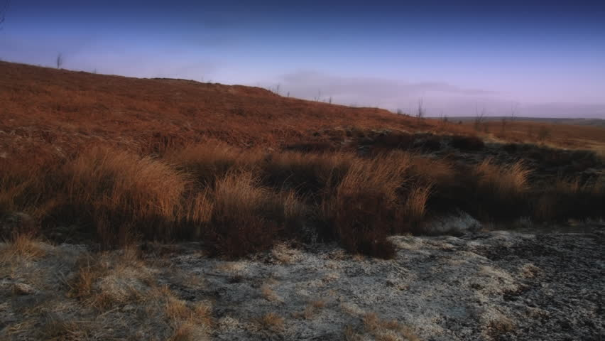 Bleak Moorland scene HD stock footage. A Autumn/Fall seasonal scene of an English Moorland with snow laying on the ground and Autumn/Fall colours. ProRes 422.