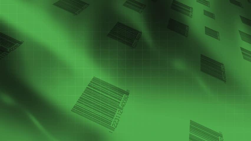 Animated Bar codes Green Looping Abstract