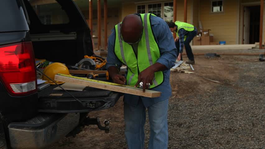 Construction worker cutting board