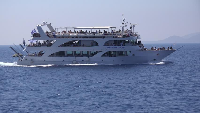 GREECE, LEFKADA ISLAND, AUGUST 20, 2014, 4K Ship Traveling ...