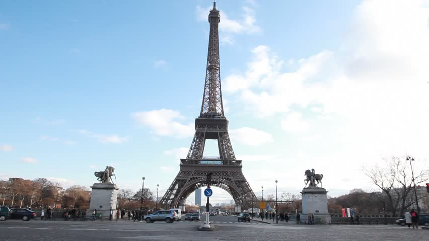 Eiffel Tower and equestrian statues in Paris - HD stock video clip