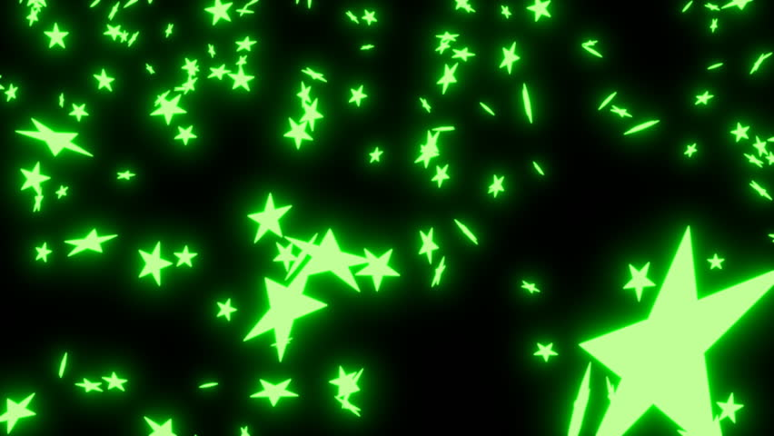animated falling neon green stars on black background