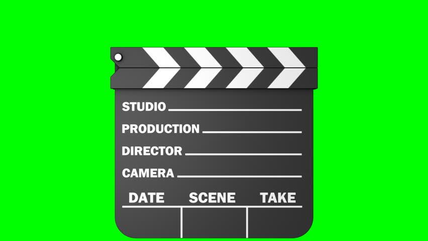 Movie Slate Over A Green Chroma Key Background. Stock ...