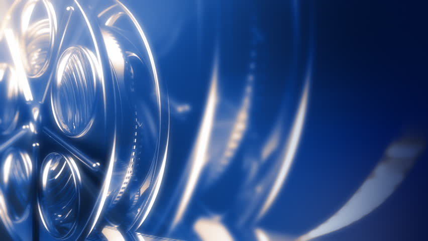 3d animated background with movie reel. Seamless loop.