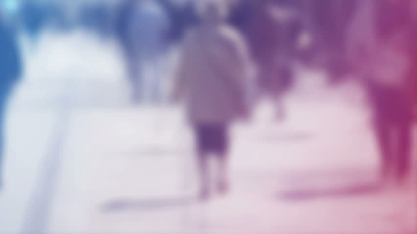 Blur Crowd of People Walking On the Street in Bokeh, unrecognizable group of men and women as blur urban background. 1920x1080 full hd footage.