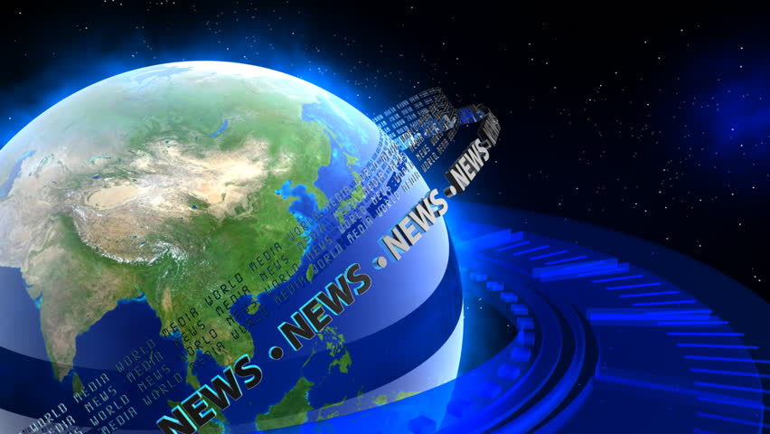 World News - Earth 45 - Glowing blue Earth with spinning rings with NEWS and MEDIA text. Great for internet, technology, scientific, communication or business concepts. - HD stock footage clip