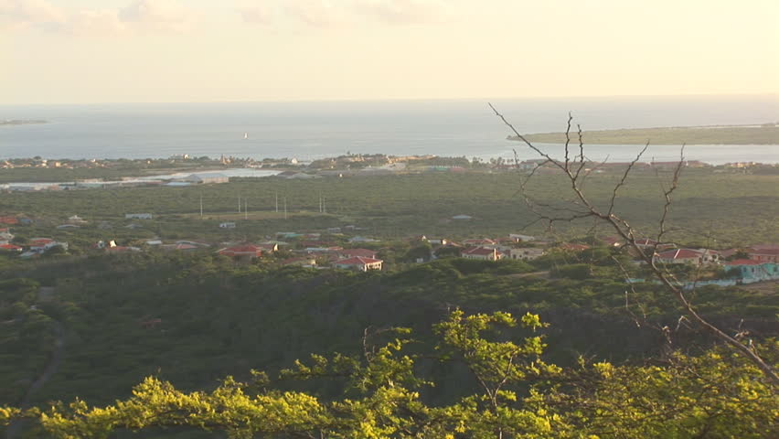 Tropical island Bonaire - pan left with cruiseship - HD stock video clip