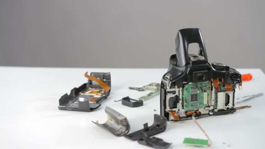 disassembled DSLR photo camera