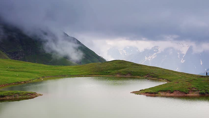 The Majestic Green Hills In Foggy Weather. Koruldi Lakes ...