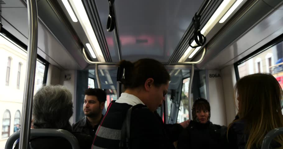 ISTANBUL - APRIL 04, 2015: Video in 4K of tram ride in Istanbul during rush hour April 04, 2015 in Istanbul, Turkey.