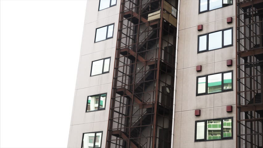japanese apartments fire escape march 2015 stock footage