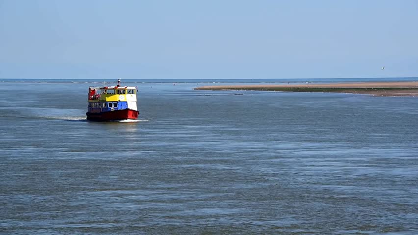 Trip boat on River Exe, near the mouth of the river - HD stock footage clip