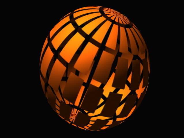 "pumpkin-like globe with radioactive symbol and explodes- no ""titles"" - SD stock video clip"