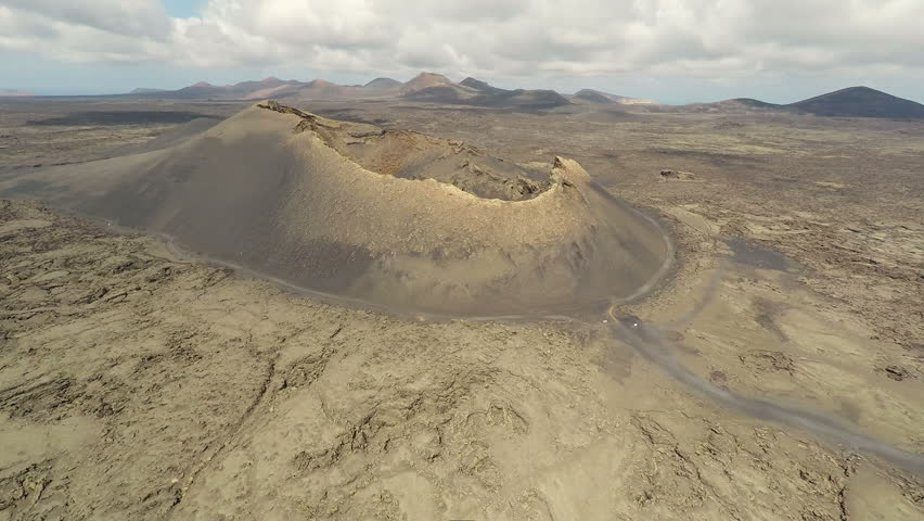 Aerial video footage of the Volcanic Landscape on the Island of Lanzarote