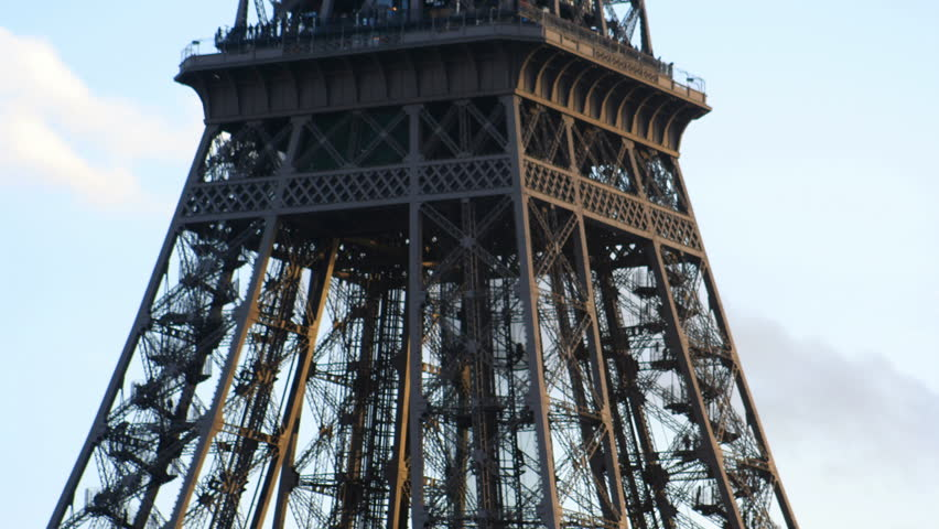 Close-up of the eiffel tower, paris, france - HD stock footage clip