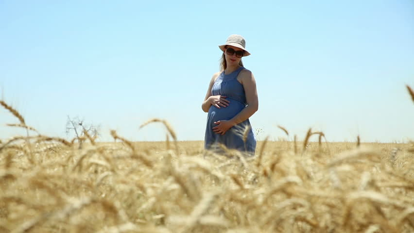 Cute young pregnant woman standing in the middle of the golden wheat field.