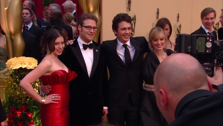 Hollywood, CA - February 22,2009: Seth Rogen and James Franco and Ahna OReilly at Academy Awards 2009, Kodak Theatre