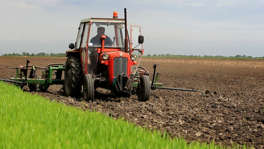 Tractor In Field Planting : Sowing maize in full swing spring planting corn a