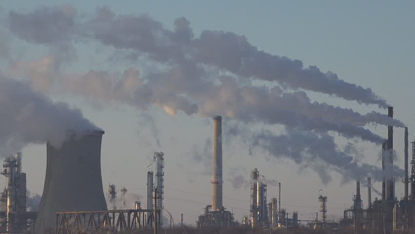 Pollution, Smoke from an Industrial Chimney, Thermal Power Plant, Industry Scenery, Factory View - HD stock footage clip