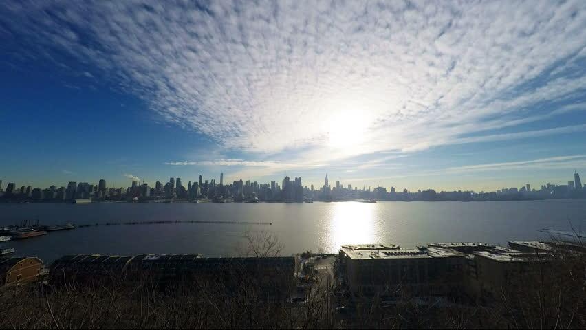 Manhattan New York Hudson River Panoramic Time Lapse 4k